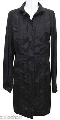 Chanel 08A 2008 Black Silk Taffeta Coat Dress Cashmere Trim Button Down Sz 40 - Evesherfashion