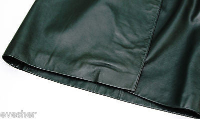 Hermes Vintage Green Leather Wrap Skirt Silver HW Rich Color Sz 40 DoPEEK! - Evesherfashion