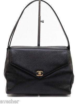 Chanel Black Caviar Leather Single Flap Kelly Shoulder Bag Satchel Tote Gold HW - Evesherfashion