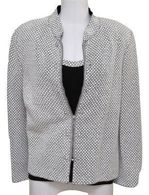 St. John 2pc White Black Jacket Shell Paillette Sequin Rhinestone Top Knit PEEK! - Evesherfashion