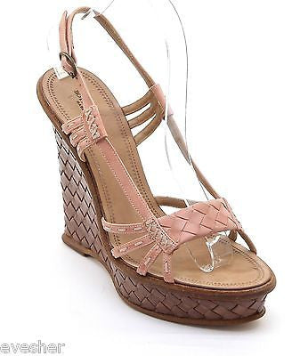Bottega Veneta Platform Wedge Sandal Pink Peach Intrecciato Leather Tan 38.5 - Evesherfashion