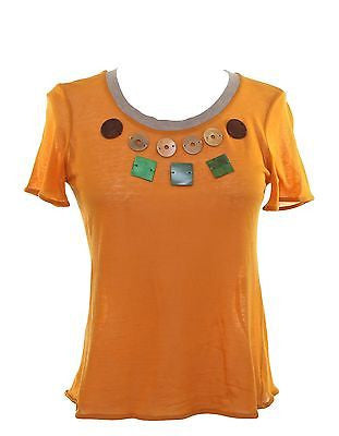 Marni Orange Cotton Cashmere Short Sleeve Top T-Shirt Knit Grey Wood Applique 40 - Evesherfashion