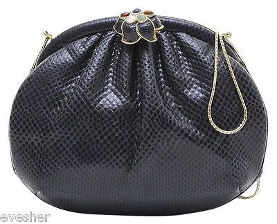 Judith Leiber Navy Blue Lizard Leather Clutch Shoulder Bag Gold HW Jewel Clasp - Evesherfashion