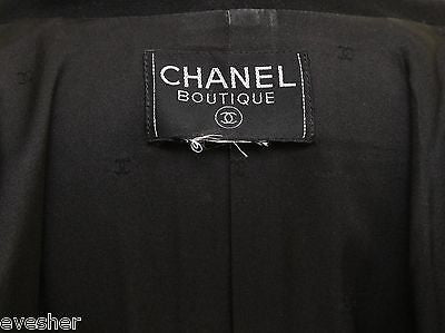 Chanel Jacket Double Breasted Blazer Black Wool Silk Silver Chain Long Sleeve - Evesherfashion