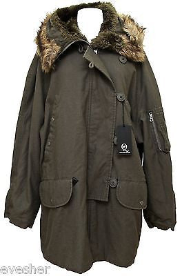 MCQ Alexander McQueen Grey Army Green Parka Jacket Coat Hooded BNWT DoPEEK! - Evesherfashion