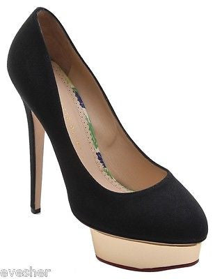 Charlotte Olympia Black Canvas Dolly Gold Platform Pumps Leather Heel 40 - Evesherfashion