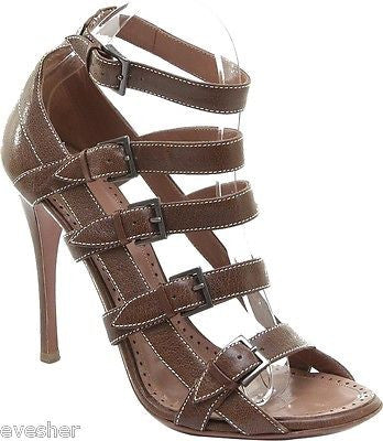 Alaia Brown Leather Gladiator Sandal Shoe Heel Open Toe White Buckle Strap 39.5 - Evesherfashion