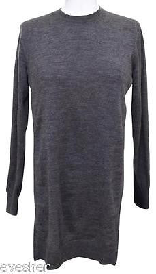 Miu Miu Grey Wool Tunic Sweater Knit Top Navy Silk Long Sleeve Sz 36 - Evesherfashion
