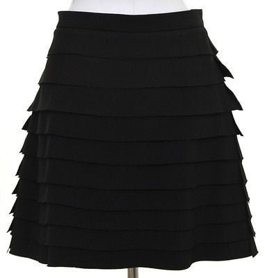 Miu Miu Black Viscose Tiered Skirt Dress Pleated Sz 44 BNWOT DoPEEK! Runs Small - Evesherfashion