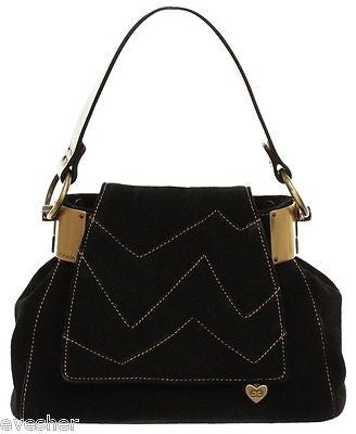Escada Black Suede Leather Brown Handbag Baguette Purse Gold HW Tan DoPEEK! - Evesherfashion