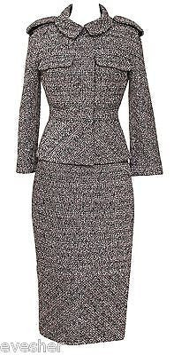 Chanel Jacket Skirt Suit Tweed Outfit 2PC Classic Coat 13B Metallic Fantasy Sz38 - Evesherfashion