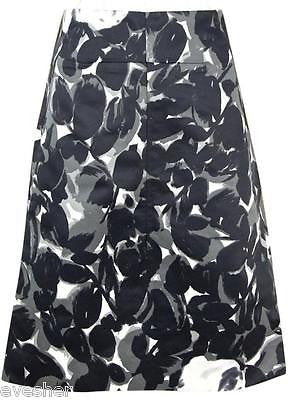 Marni Black Grey White Flower Print Dress Skirt Zipper Cotton Blend Sz 38 DoPEEK - Evesherfashion