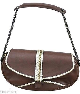 Giuseppe Zanotti Brown Leather Shoulder Bag Purse Handbag Gold Chain - Evesherfashion