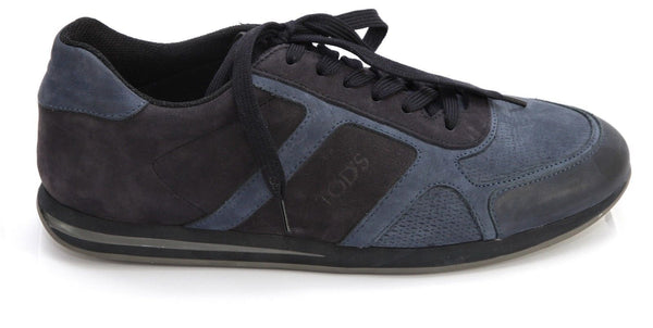 TOD'S Sneaker Men's Suede Leather Low-Top Navy Blue Lace Up Rubber Sole 8 - Evesherfashion