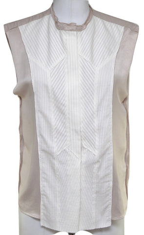 BOTTEGA VENETA Blouse Shirt Top Sleeveless White Blush Snap Front Sz 38 BNWT - Evesherfashion