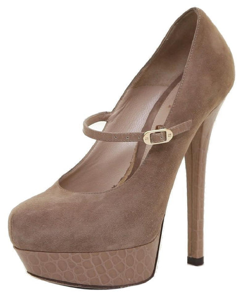 FENDI Platform Pump Suede Leather Tan Shoe Heel Sz 38 - Evesherfashion