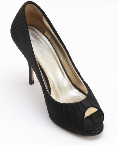 VALENTINO Pump Platform Black Satin Pleated Peep Toe Gold Leather Lining 37 - Evesherfashion