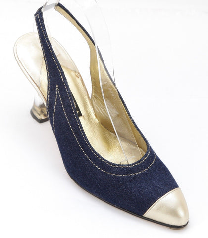 ESCADA Pump Blue Leather Slingback Gold Resin Heel Shoe 7B VINTAGE - Evesherfashion