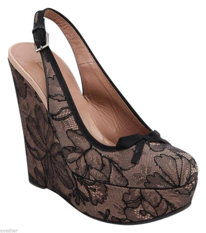 ALAIA Sandal Platform Wedge Nude Black Lace Leather Silver HW 39.5 - Evesherfashion
