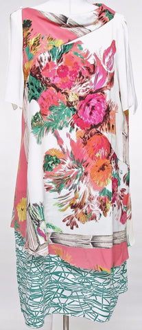 ANTONIO MARRAS Dress Short Sleeve Silk Multi-Color Floral Sz 46 - Evesherfashion