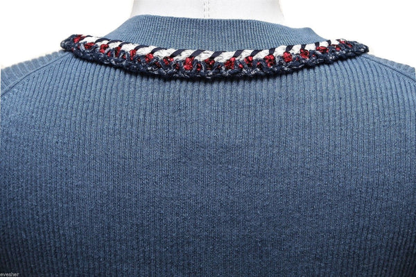 CHANEL Knit Sweater Top Long Sleeve Navy Red White Blue Silver HW 40 13C 2013 - Evesherfashion
