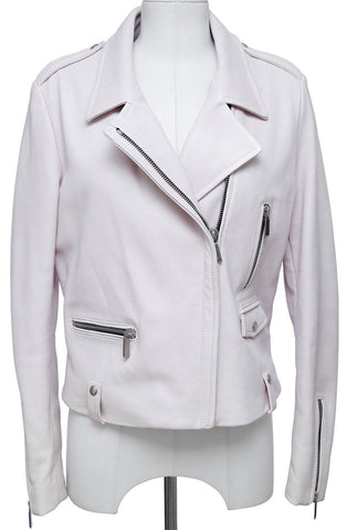 BARBARA BUI Leather Jacket Moto Coat Powder Pink Long Sleeve Zipper Sz 42 $2350 - Evesherfashion
