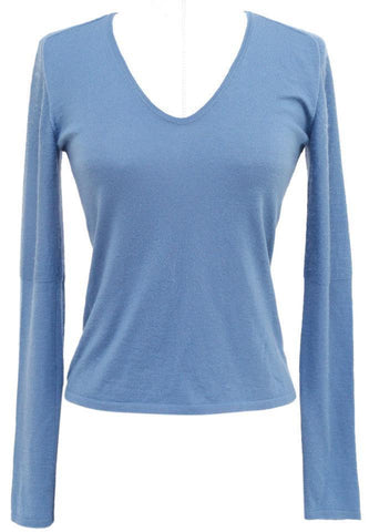 AKRIS Sweater Knit Top Shirt Long Sleeve Blue Thin V-Neck - Evesherfashion