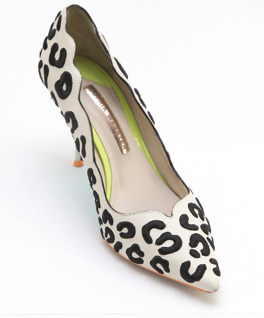 SOPHIA WEBSTER Pump Shoe Heel Leather Ivory Black Embroidered Animal Print 37.5 - Evesherfashion