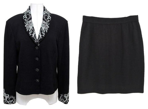 ST. JOHN  Black Skirt Suit 2pc Jacket Rhinestone Dress Knit Sweater 10-12 - Evesherfashion