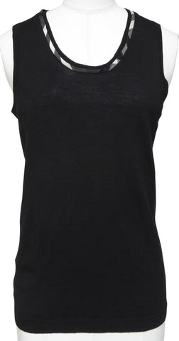 BURBERRY LONDON Knit Sweater Sleeveless Top Black Brit Scoop Neck Sz M - Evesherfashion