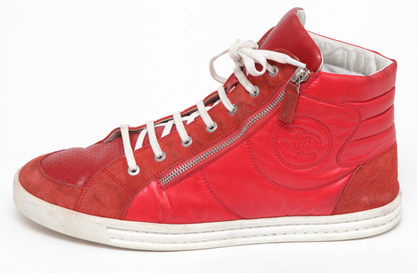 CHANEL Men's Suede Nylon High Top Red Sneaker Silver Zipper Sz 44 - Evesherfashion