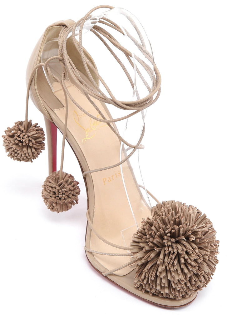 outlet store sale cb1ac 50945 Christian Louboutin Sandal Leather NUDE STAROUCHI Pom Pom Thong Heel 100mm  Sz 38