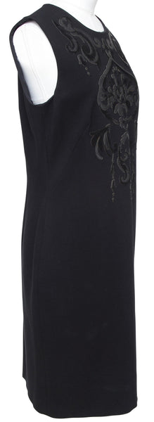 EMILIO PUCCI Dress Black Sleeveless Sheath Leather Crewneck Knee Length 14 48 - Evesherfashion