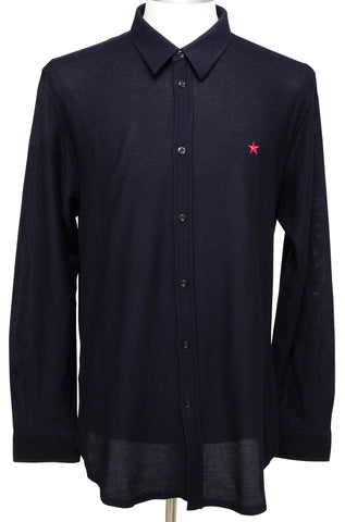 GIVENCHY Men's Shirt Navy Blue Long Sleeve Button Down Cotton Red Star Sz 44 NEW - Evesherfashion