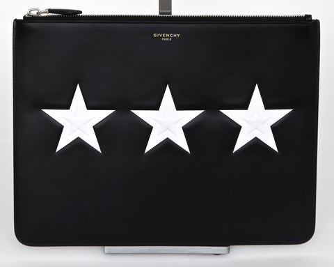GIVENCHY Black Leather White STAR MOTIF Pouch Clutch Wallet Zipper Top - Evesherfashion