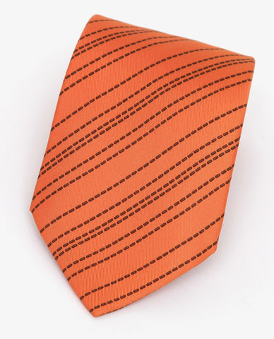 HERMES Men's Tie Necktie Silk Orange Striped Pattern - Evesherfashion