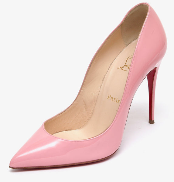 CHRISTIAN LOUBOUTIN Pink Patent Leather Pump PIGALLE FOLLIES 100mm Pointed Toe 38.5 - Evesherfashion