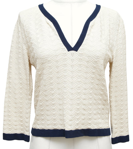 CHANEL Sweater Knit Top Ivory Ecru Navy CC Buttons 3/4 Sleeve Cruise 2013 Sz 38 - Evesherfashion