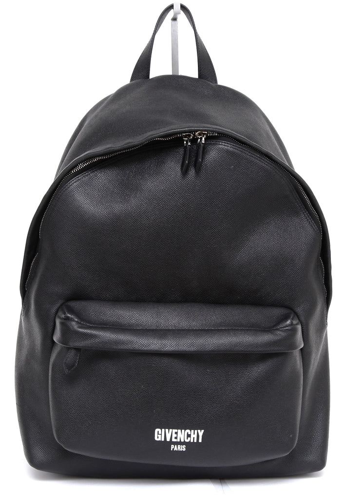 GIVENCHY Black Leather BACKPACK White Printed Logo Bag Tote Silver - Evesherfashion