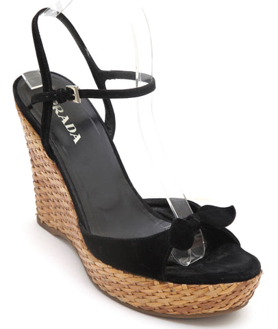 PRADA Black Suede Leather Platform Sandal Wedge Wicker Silver Buckle Sz 38 - Evesherfashion