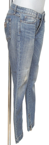 DOLCE & GABBANA Blue Jean Denim PRETTY Low Rise Skinny Zipper Leg Sz 40 - Evesherfashion