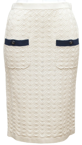 CHANEL Skirt Knit Ivory Navy CC Buttons Pockets Cruise 2013 Sz 36 - Evesherfashion