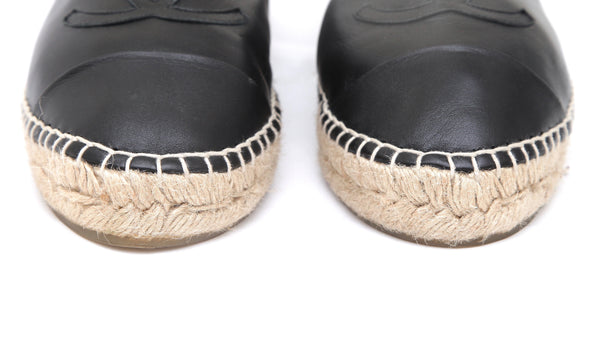 CHANEL Black Lambskin Leather Espadrilles Moccasin Loafer Flats Sz 39 - Evesherfashion