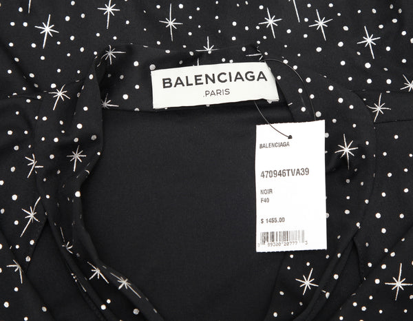 BALENCIAGA Blouse Top Shirt Stars 3/4 Sleeve Neck Tie Black Silver 40 NWT - Evesherfashion