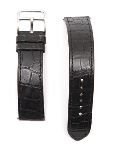 HERMES Black Leather Watch Strap Alligator Band Stainless Steel Buckle 16mm - Evesherfashion