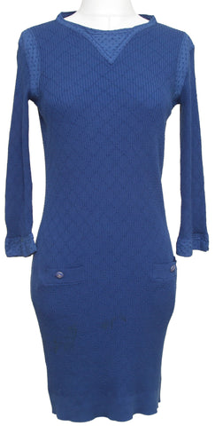 CHANEL Dress Knit Sweater Blue Quilted Cotton Long Sleeve Eyelet 2013 SZ 34 - Evesherfashion