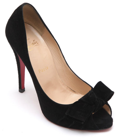 CHRISTIAN LOUBOUTIN Black Suede Leather Pump Peep Toe Platform Bow 120mm 38.5 - Evesherfashion