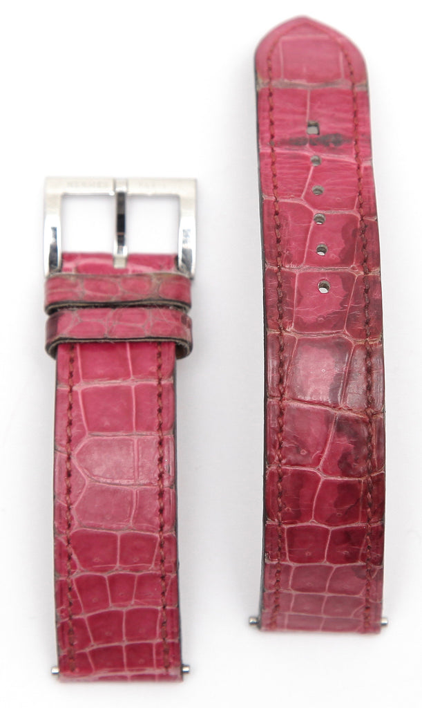 HERMES Pink Leather Watch Strap Alligator Band Stainless Steel Buckle 16mm - Evesherfashion