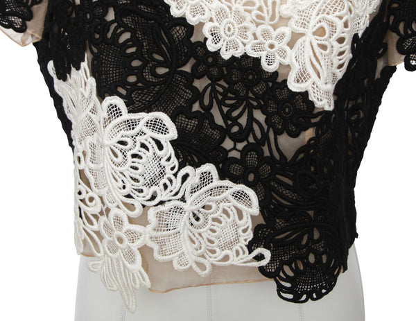 ERDEM Lace Top Blouse Shirt EMIKO APPLIQUE Black White Nude Short Sleeve US 10 - Evesherfashion