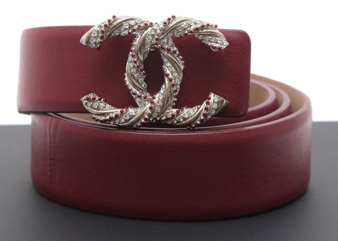 CHANEL Burgundy Leather Belt Waist Silver CC Crystals Sz 75 NEW IN BOX - Evesherfashion